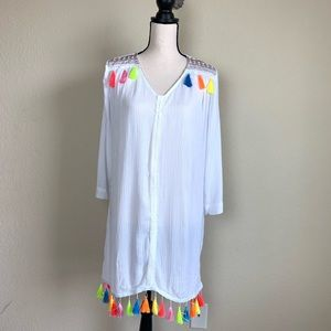Shein swimsuit coverup with colorful tassels